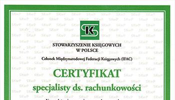 Certyfikat specjalisty do spraw rachunkowości