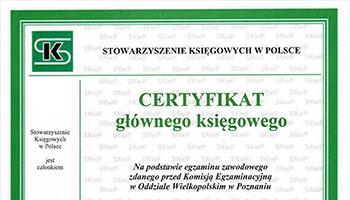 Certyfikat głównego księgowego